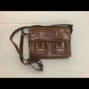 Vintage Cognac Brown Leather Messenger Purse